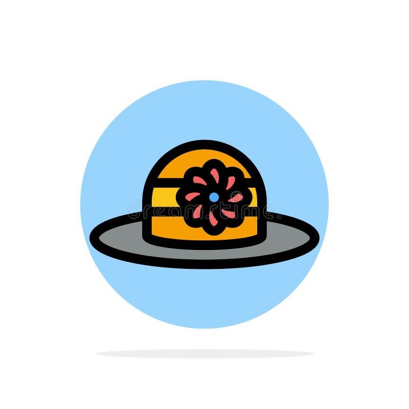 Plaża, kapelusz, nakrętka okręgu Abstrakcjonistycznego tła koloru Płaska ikona ilustracji