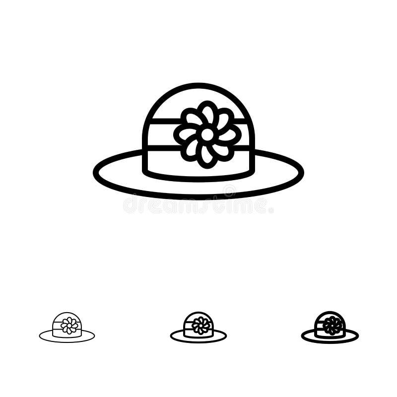 Plaża, kapelusz, Nakrywa Śmiałego i cienkiego czerni linii ikony set ilustracji