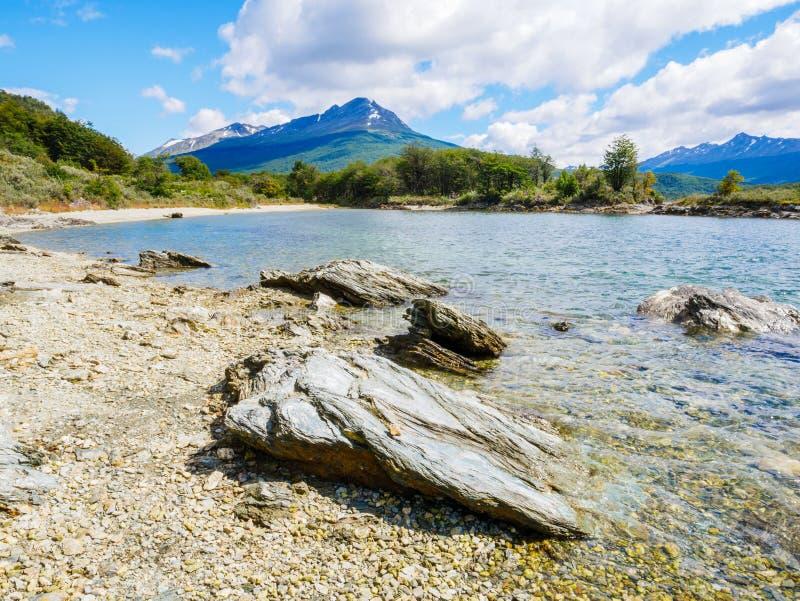 Plaża Lapataia zatoka w Terra Del Fuego parku narodowym, Patagoni zdjęcie stock