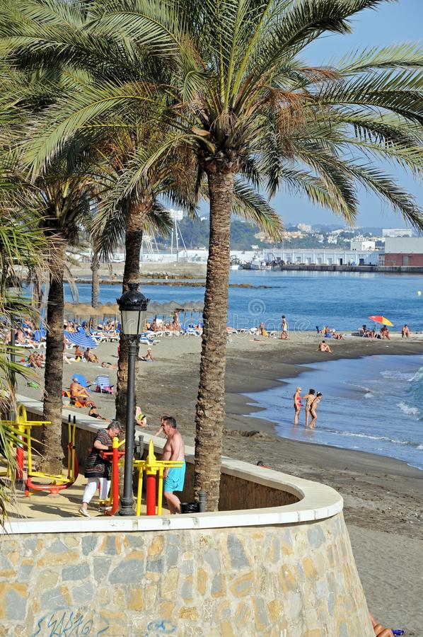 Plaża, Marbella, Hiszpania. obraz stock