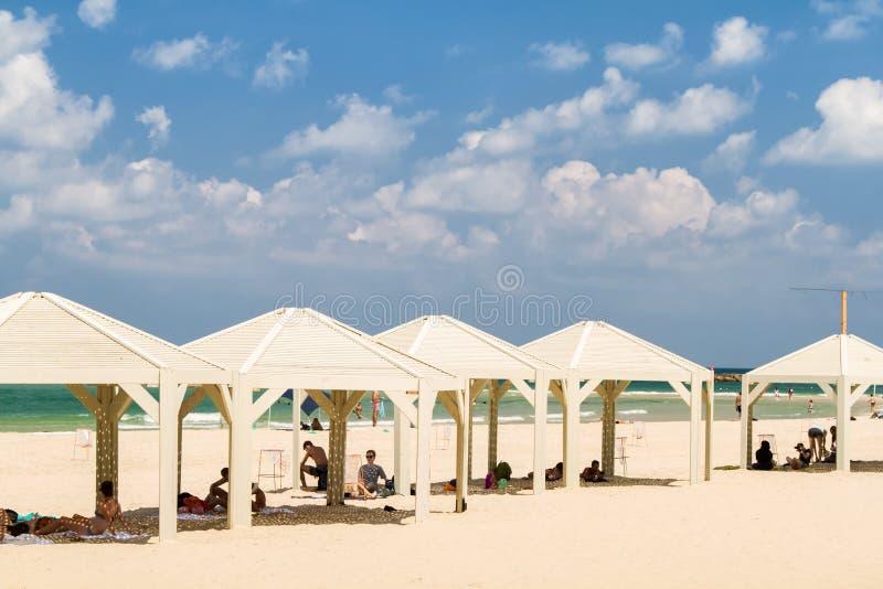Plaża morze śródziemnomorskie w Tel Aviv, Izrael obraz stock
