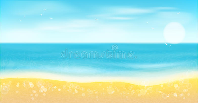 Plaża, morze, piasek i słońce, Lata tło ilustracji
