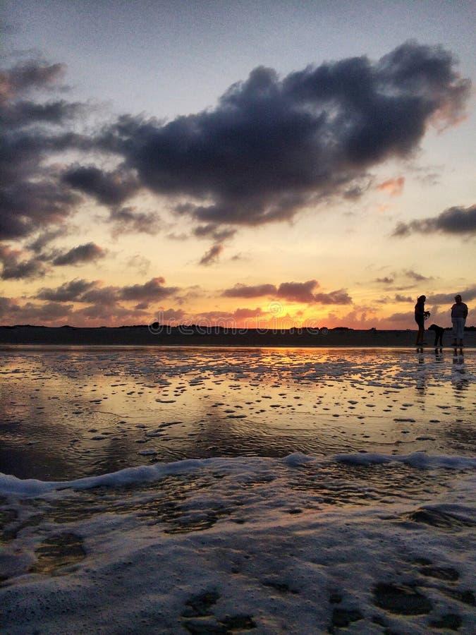 plaża na zachód słońca fotografia stock