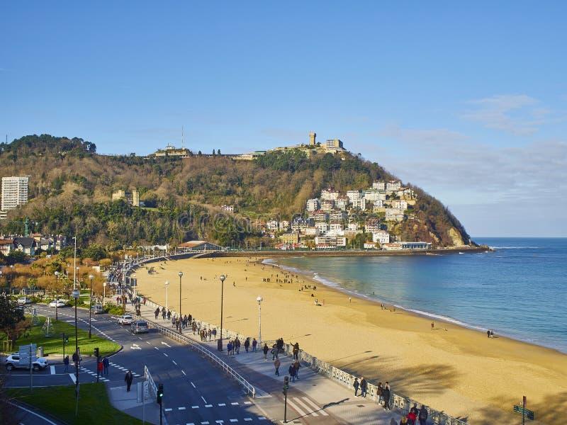 Plaża Ondarreta San Sebastian, Kraj Basków Hiszpania fotografia royalty free