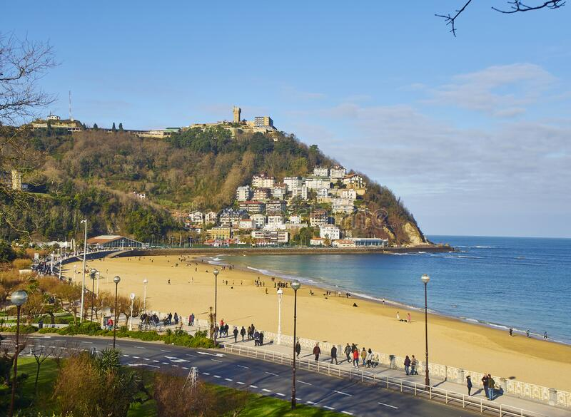 Plaża Ondarreta San Sebastian, Kraj Basków Hiszpania fotografia stock