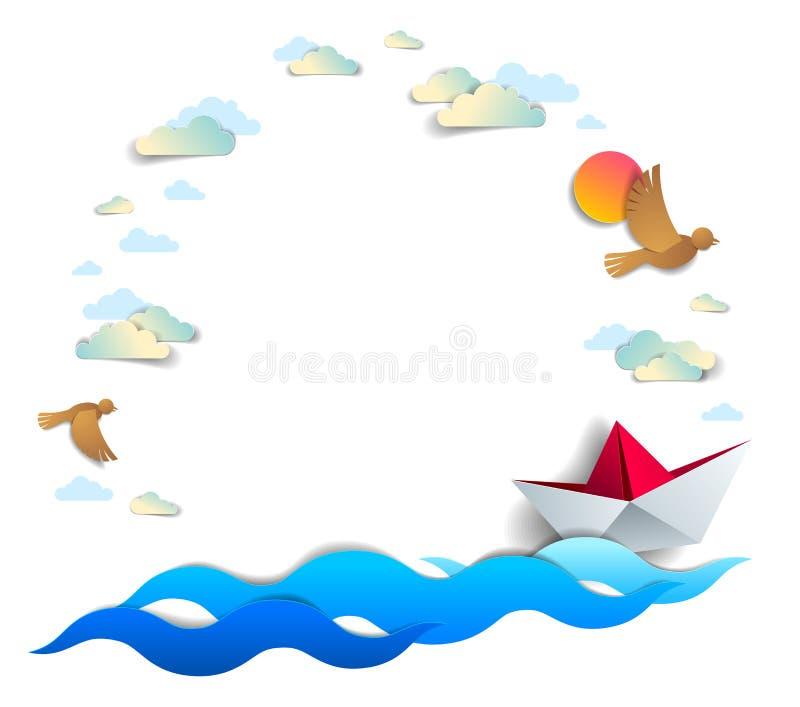 Plaża, palmy, ocean fale i granica z kopii przestrzenią, origami papieru statku zabawki, lub, piękna wektor karta sceniczny ilustracji