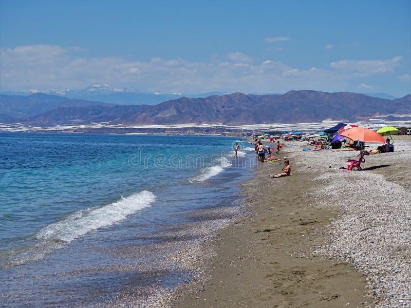 Plaża Pena Del Moro od El Ejido Almeria Andalusia Hiszpania obrazy stock