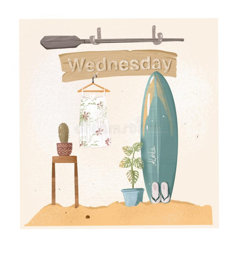 Plaża, piasek i surfboard, Środa przy plażą fotografia royalty free