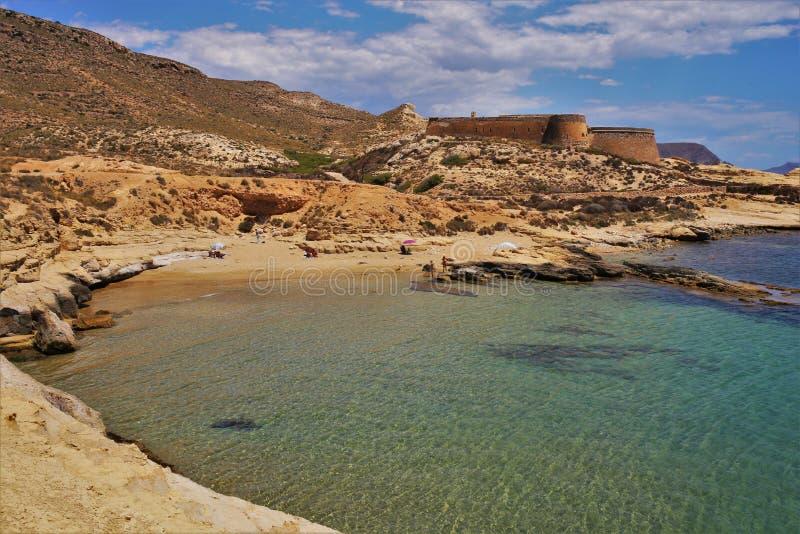 Plaża Playazo De Rodalquilar Nijar Almeria Andalusia Hiszpania obraz royalty free