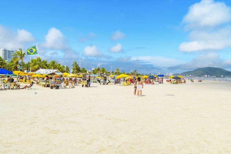 Plaża Praia da Enseada, Guaruja SP Brazylia obrazy royalty free