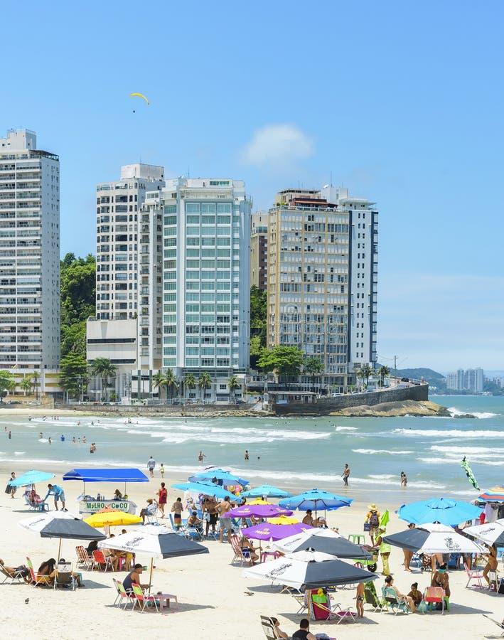 Plaża Praia das Pitangueiras, Guaruja SP obraz royalty free