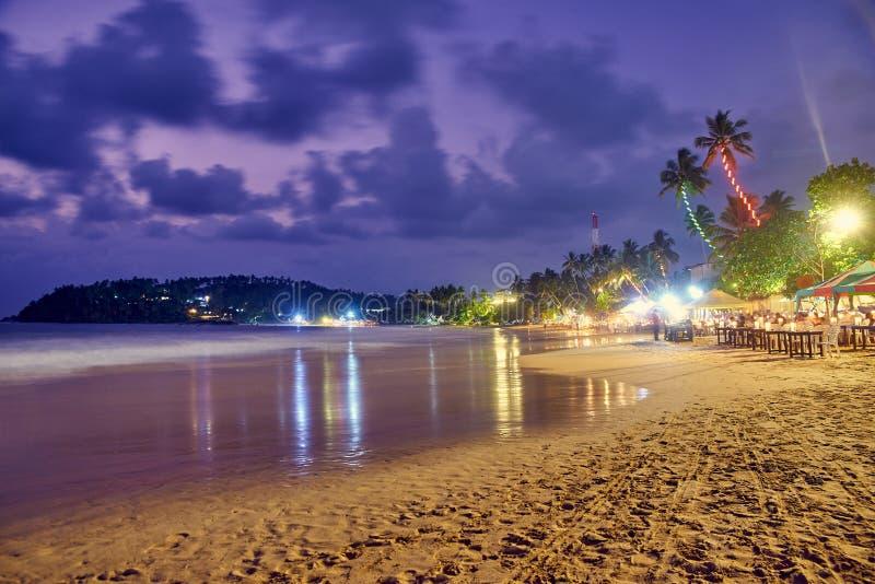 Plaża przy nocą w Sri Lanka fotografia stock