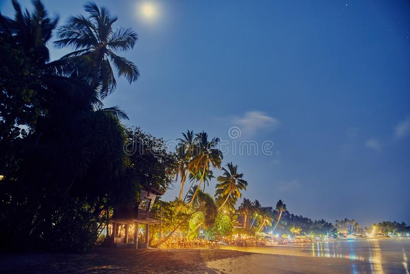 Plaża przy nocą w Sri Lanka obrazy stock