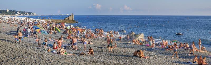 Plaża Sochi w lecie Microdistrict Mamayka, Rosja zdjęcia stock