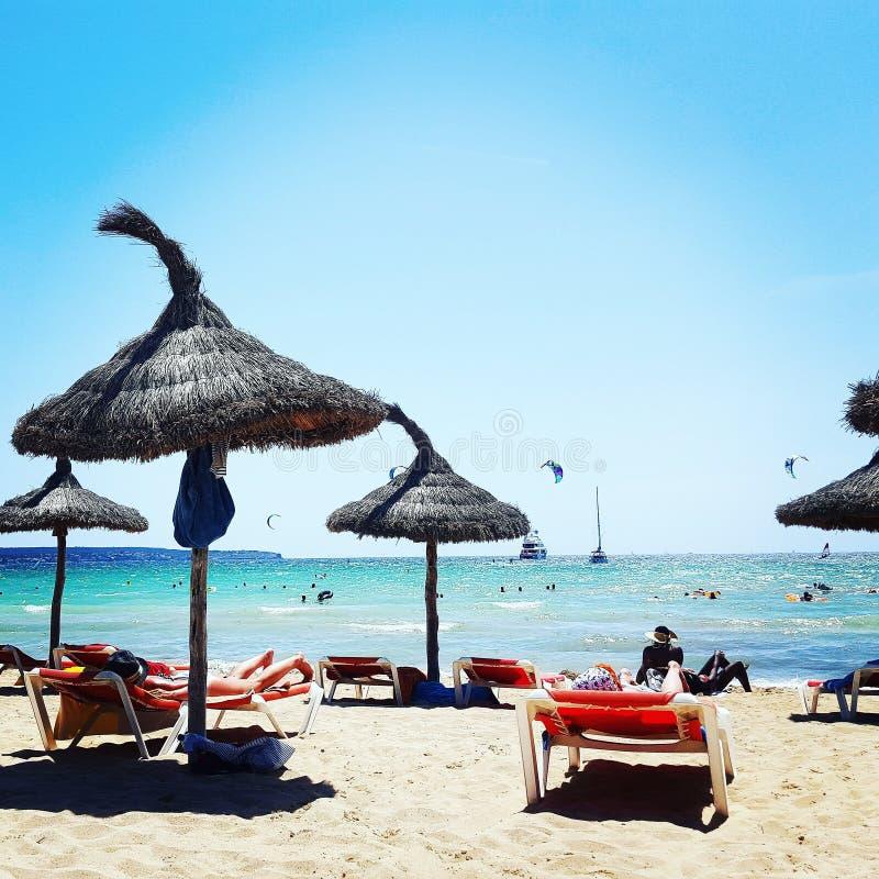 Plaża sunbed zdjęcia stock