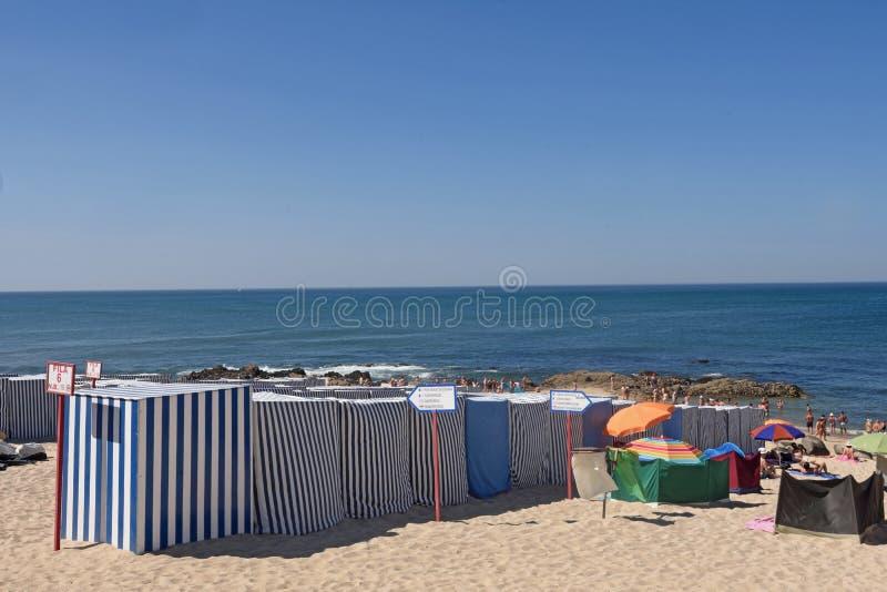 Plaża Vila Do Conde w Douro regionie, Północny Portugalia fotografia stock