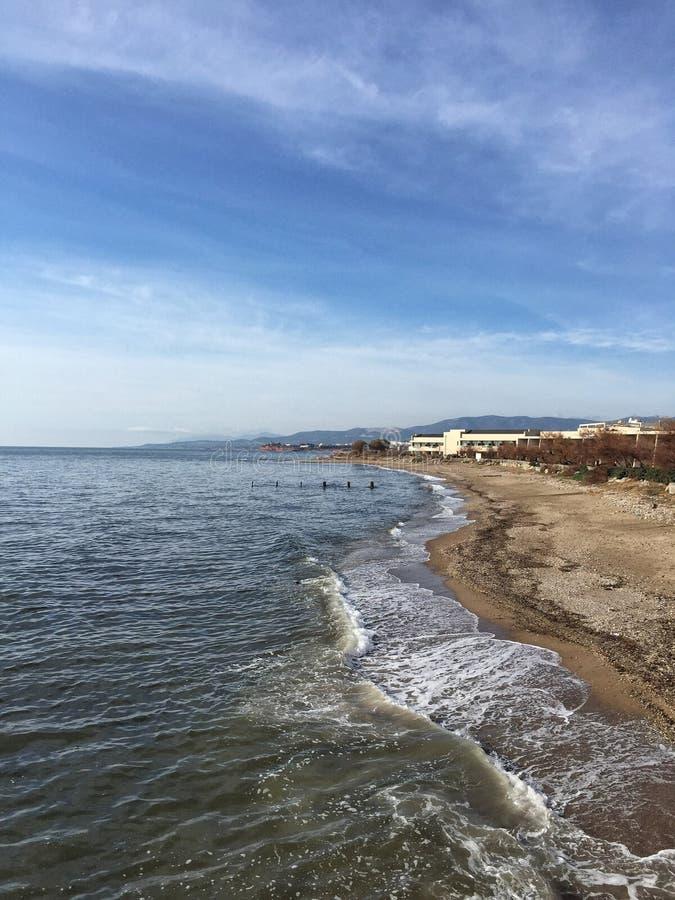 Plaża w Alexandroupoli mieście Grecja zdjęcie stock