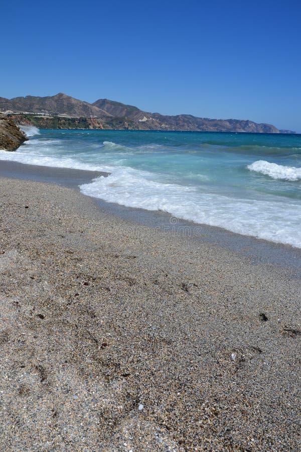 Plaża w Costa Del Zol, Hiszpania - obraz stock