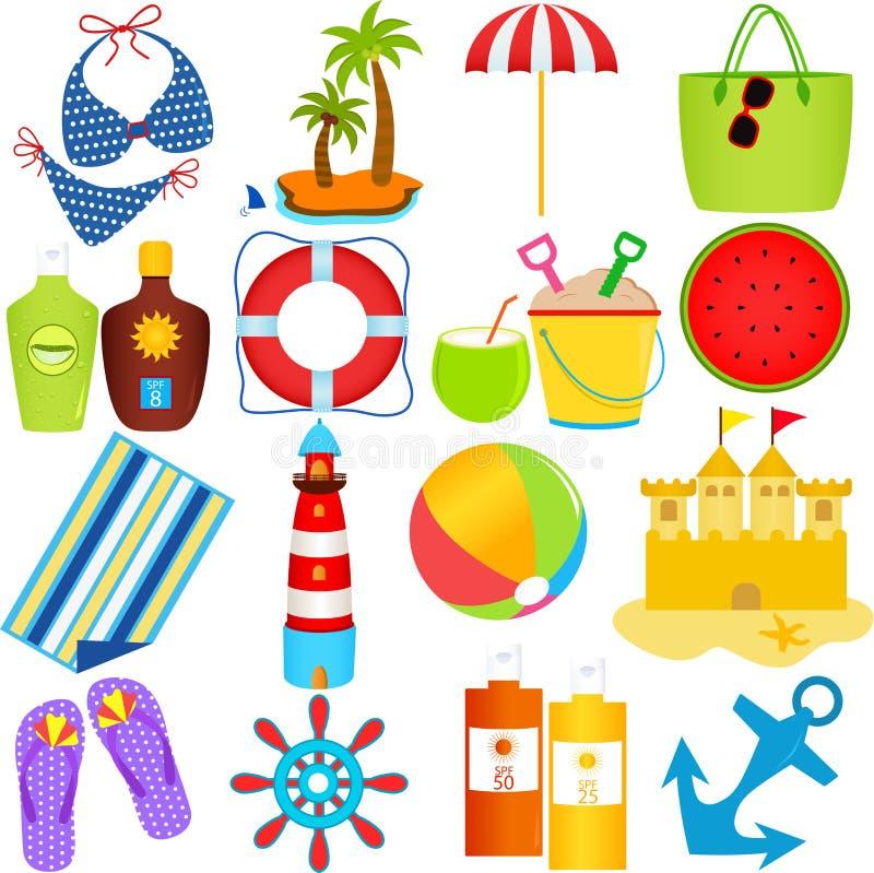 Plaża w Lato Temacie ilustracji
