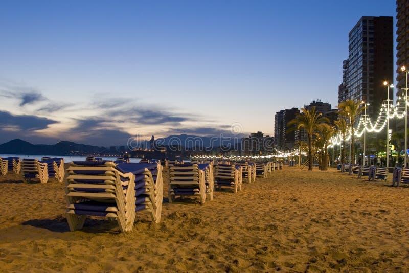 Plaża w opóźnionym wieczór przy Benidorm zdjęcia royalty free