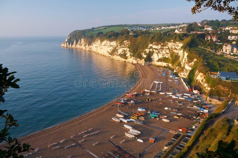 Plaża w piwie, Devon, UK obrazy stock