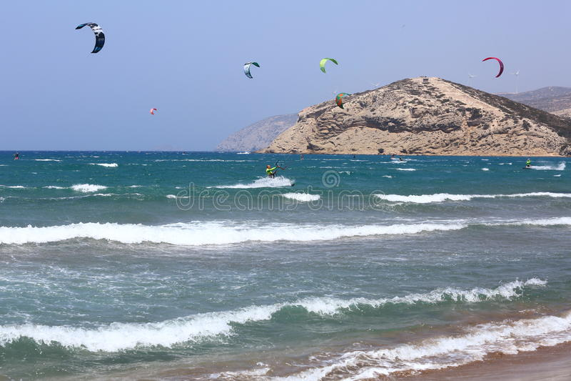 Plaża w Prassonisi, morze egejskie, Rhodes wyspa obrazy stock