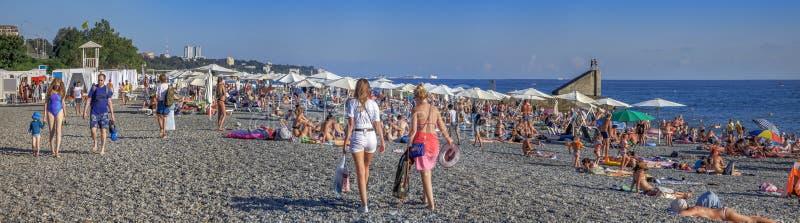 Plaża w Sochi w lecie Microdistrict Mamayka, Rosja fotografia stock