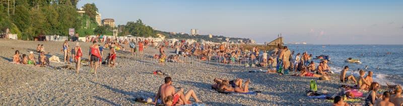 Plaża w Sochi w lecie Microdistrict Mamayka, Rosja zdjęcia royalty free