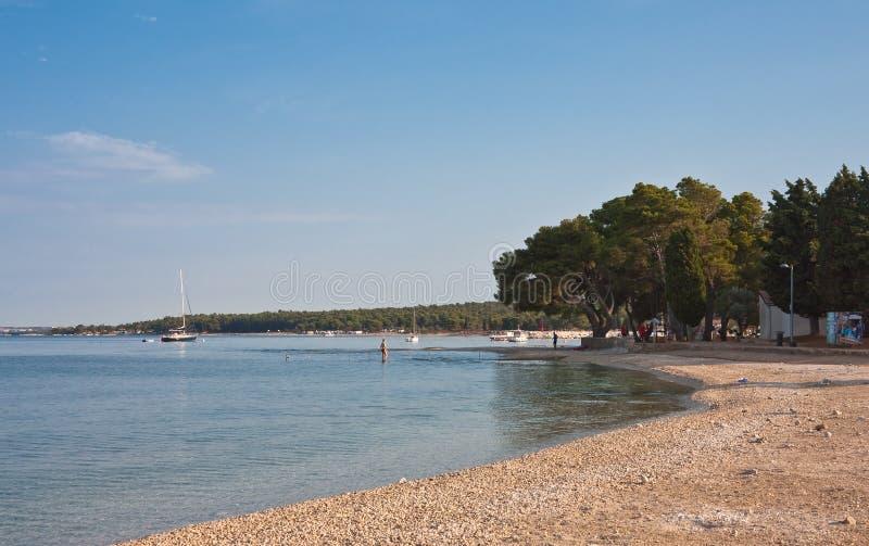 Plaża w wczesnym poranku. Istria, Chorwacja zdjęcie stock