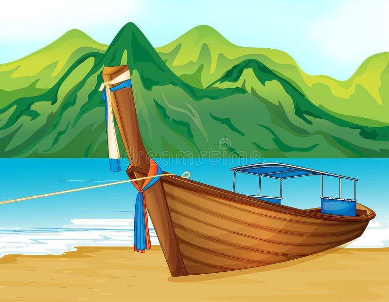 Plaża z drewnianym statkiem royalty ilustracja