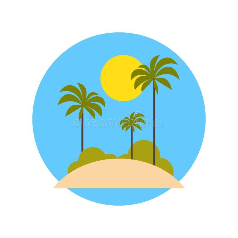 Plaża Z drzewko palmowe ikony wakacje Na Tropikalnym wyspy podróży pojęciu royalty ilustracja
