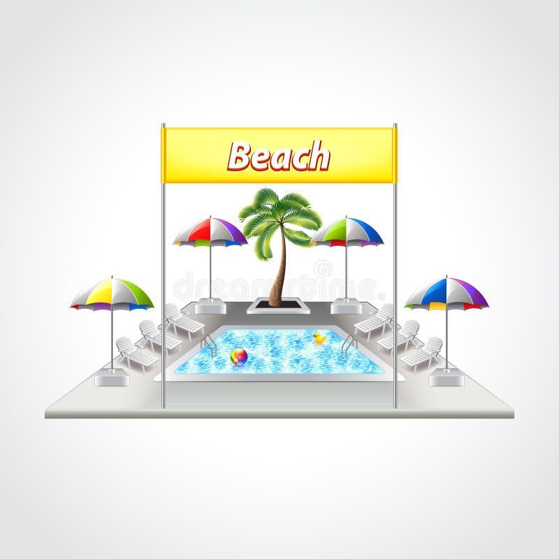 Plaża z pływackiego basenu wektoru ilustracją royalty ilustracja