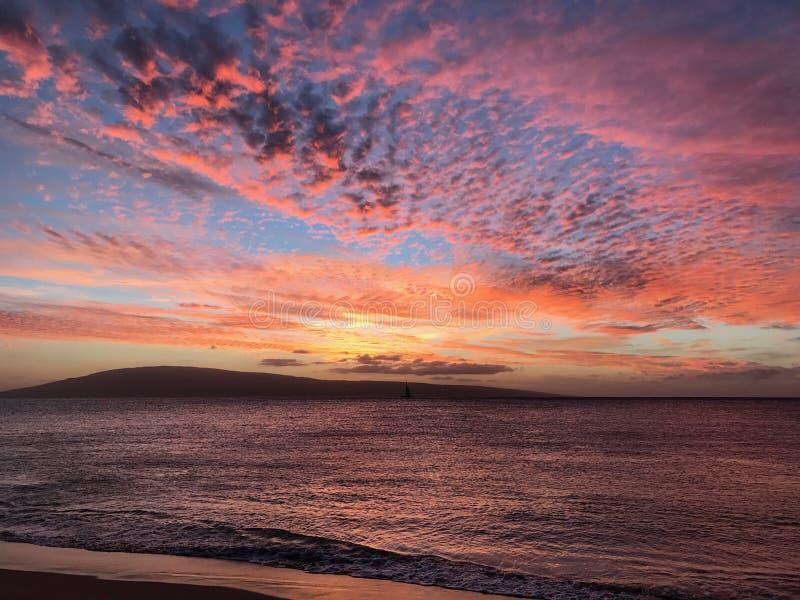 Plaża z zmierzchem zdjęcia royalty free