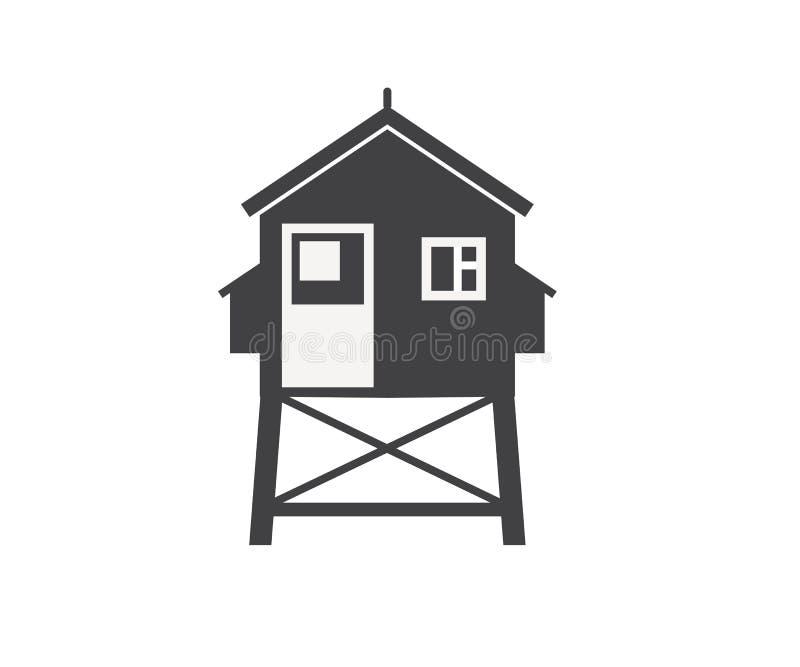 Plażowa życie Strażowego domu ikona ilustracja wektor