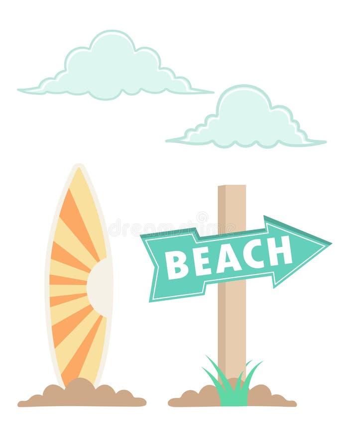 Plażowa ilustracja z drewno znakiem ilustracja wektor