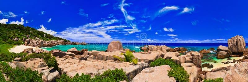 plażowa panorama Seychelles tropikalni obraz royalty free
