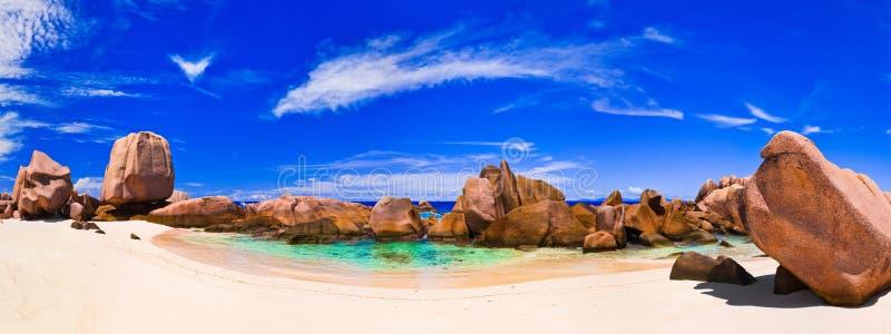 plażowa panorama Seychelles tropikalni zdjęcie stock