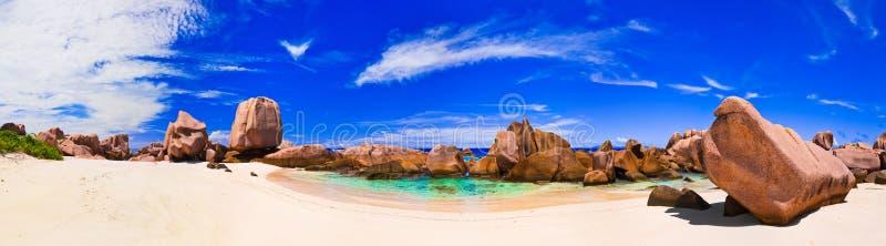 plażowa panorama Seychelles tropikalni zdjęcia royalty free