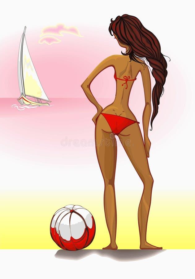 plażowa piękna bikini dziewczyny lookin czerwień ilustracja wektor
