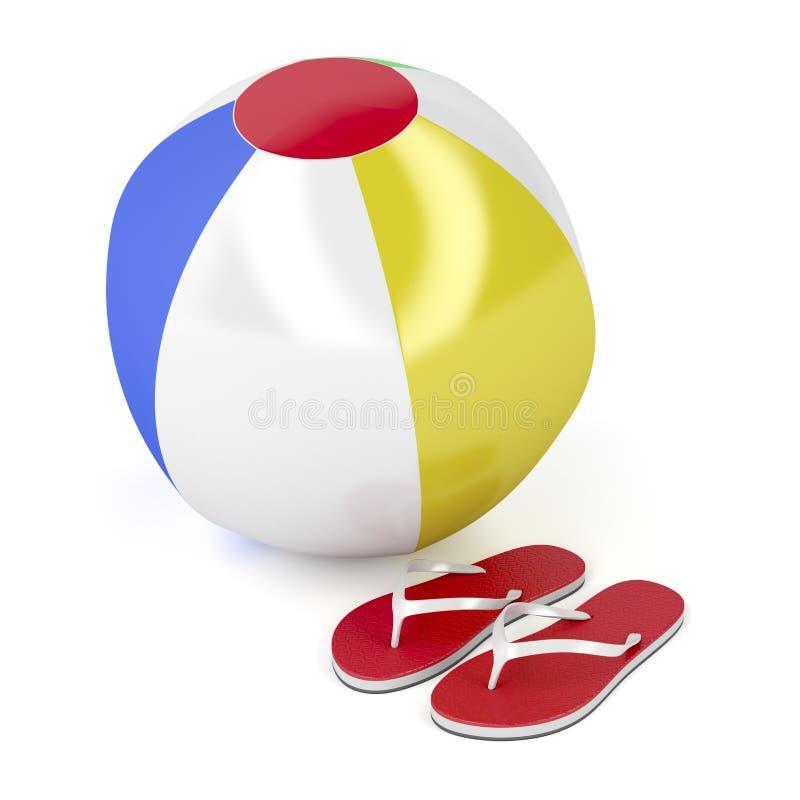 Plażowa piłka i klapy ilustracja wektor