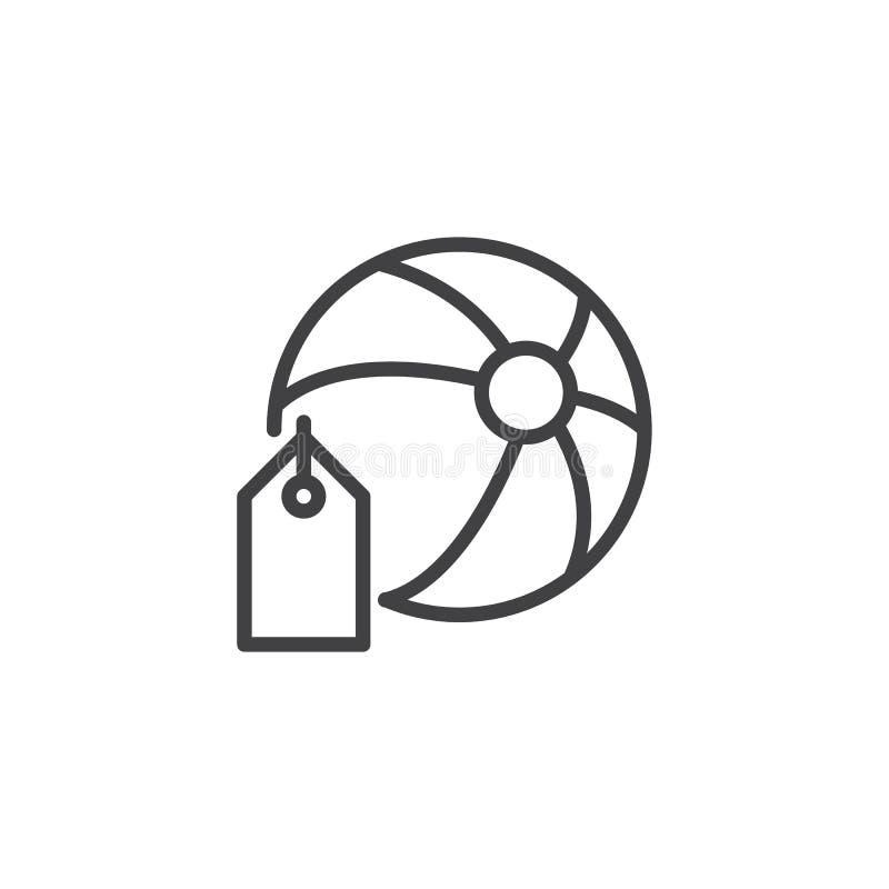 Plażowa piłka z metka konturu ikoną ilustracji