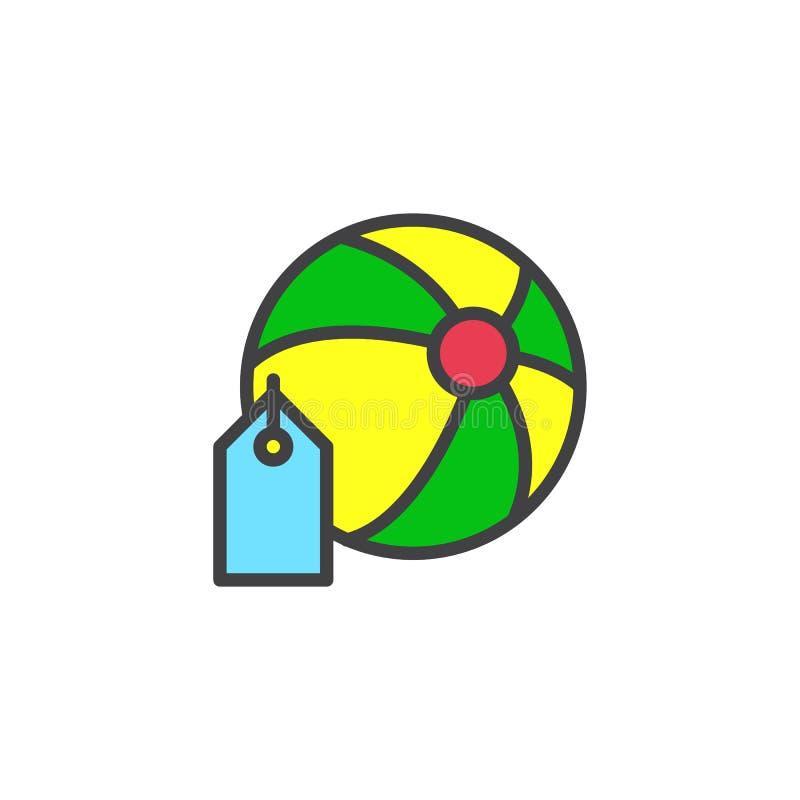 Plażowa piłka z metka wypełniającą kontur ikoną ilustracji