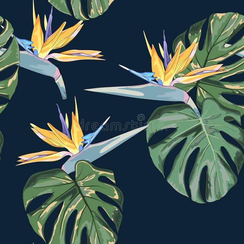 Plażowa rozochocona bezszwowa deseniowa tapeta tropikalni ciemnozieleni liście drzewka palmowe i kwiatu ptak raju strelitzia royalty ilustracja