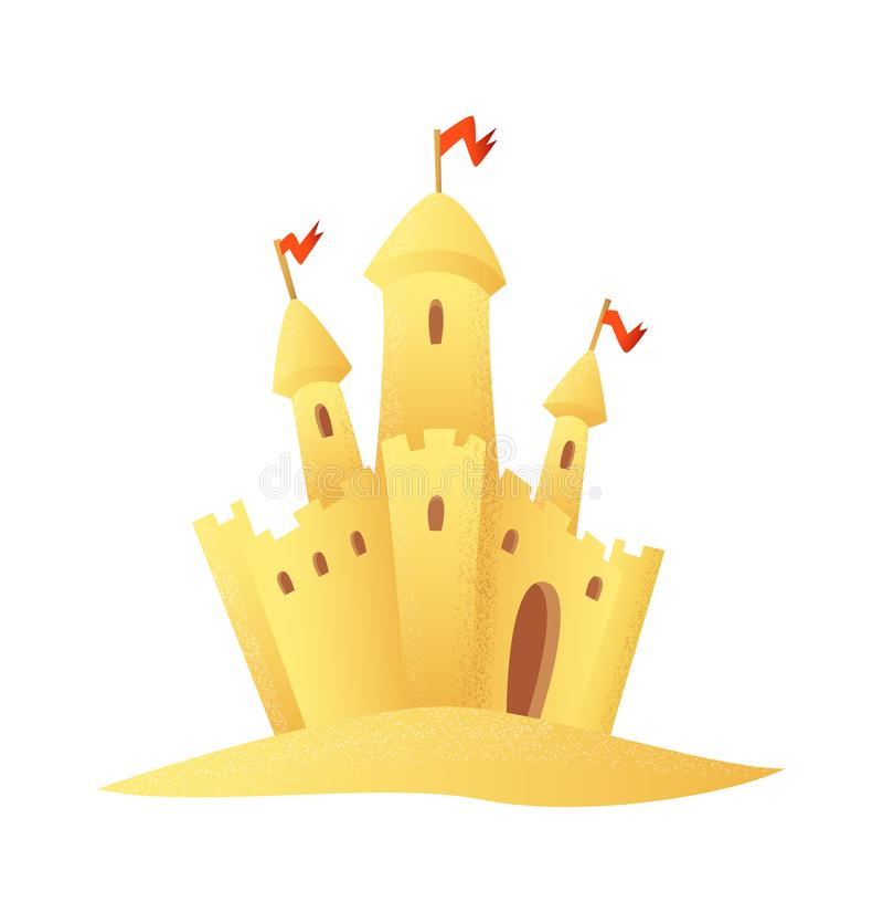 Plażowa Sandy kasztelu kreskówki stylu ikona royalty ilustracja