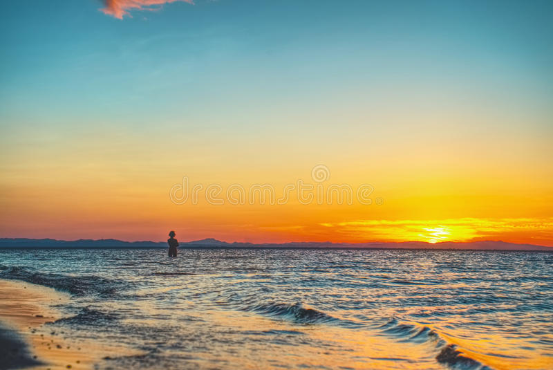 Plażowa zmierzch sylwetka obrazy stock