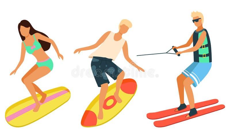 Plażowe aktywność, mężczyzna i kobieta na Surfboards, royalty ilustracja