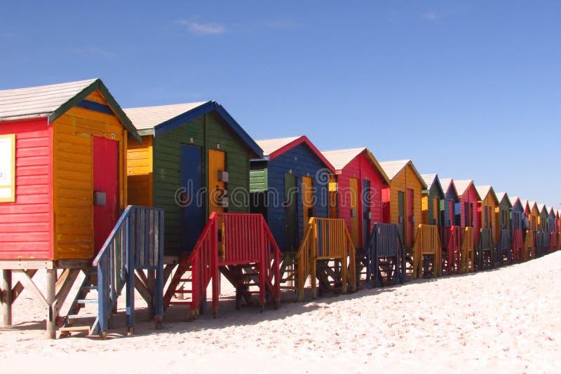 Plażowe budy, Muizenberg, Południowa Afryka obrazy stock