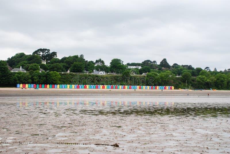 Plażowe budy na Llanbedrog plaży, Północny Walia, UK fotografia stock