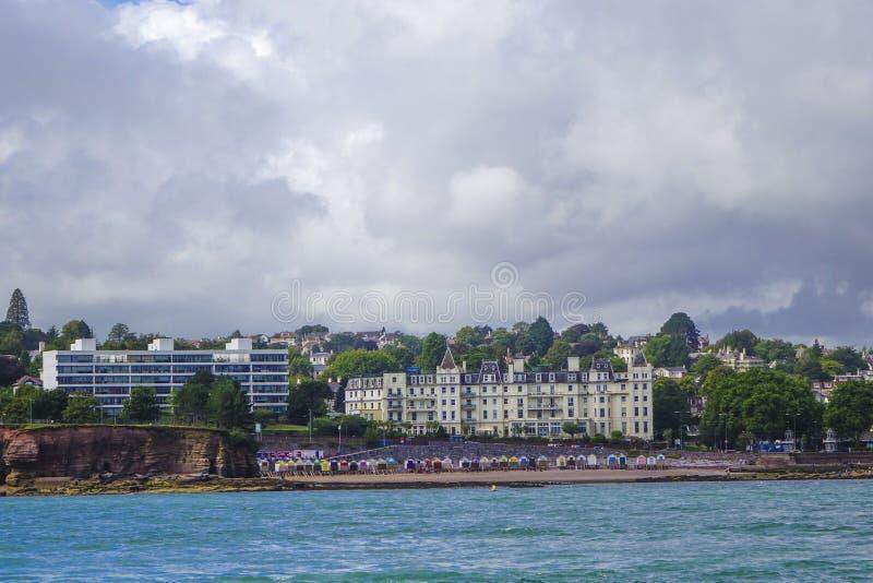 Plażowe budy Torbay obrazy royalty free