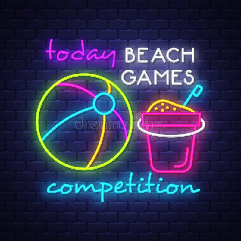Plażowe gry turniejowe Wakacje letni sztandar Neonowy sztandar stadium neonowy ny szyldowy jankes royalty ilustracja